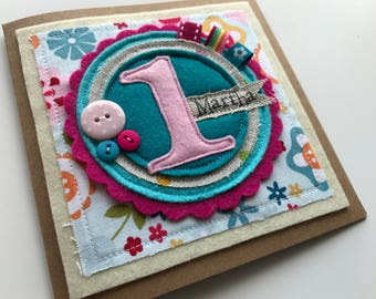 1st birthday card | Birthday card | Personalised birthday card | Girls birthday card | Appliqué birthday cards |