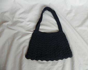 1930's or 1940's Vintage Black Crocheted Purse Handbag