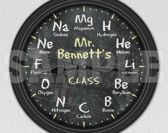 Chemistry Science Chalkboard Personalized Decorative Wall Clock - Teacher Gift ITEM#008