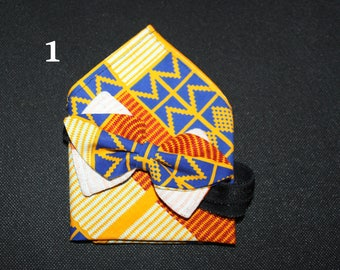 Ankara print bow tie-African bow tie - the Solitaire/Tristan and her costume bowtie men bag & pouch wax/kente
