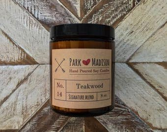 Teakwood Soy Candle, Soy candles handmade, Scented Soy Candle, Wood scented candle, Gifts for him