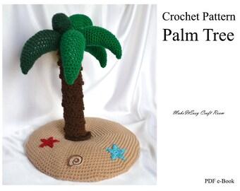 Palm tree crochet pattern Crochet sea island Sea stars applique Crochet tropical beach and palm Crochet mini island Digital download
