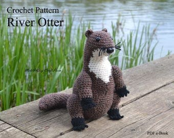 River otter crochet pattern Crochet otter amigurumi  Otter crochet pattern Otter softie Stuffed otter toy Digital download PDF pattern