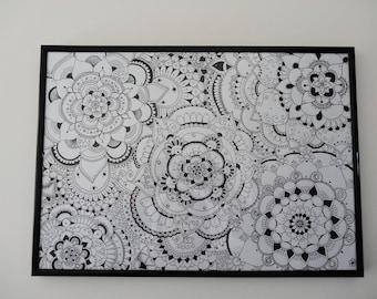 Intricate Wildflower Mandala A3 Ink Print Hand Drawn Illustration A3 Unique Interior Wall Decor Art