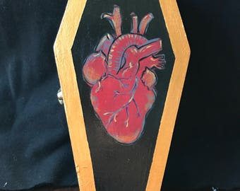 Handpainted Coffin Stash Box - Anatomical Heart