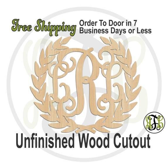 Laurel Leaf 3-Letter Monogram - 990025M3- Personalized Cutout, unfinished, wood cutout, wood craft, laser cut, wood cut out, Wedding, wooden