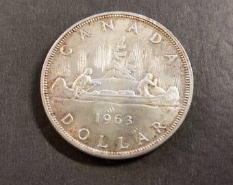 Canada 1963 Silver Dollar Brilliant Almost Uncirculated Beautiful Coin