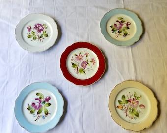 Antique Bohemian Porcelain Plates - Five Antique Brothers Schwalb Desert Plates - Czech Porcelain - BSM Hand Painted Porcelain