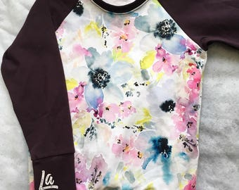 READY-to-ship, Sweatshirt, flowers, floral, watercolor, eggplant, comfy, evolutive Style, soft, 4 to 9/10