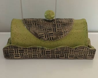 Ready To Ship- Handmade Ceramic Butter Dish- Chartreuse Green