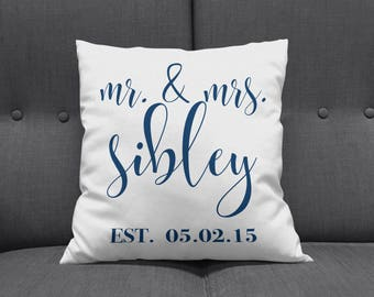 Established Throw Pillow, Monogrammed Throw Pillow, Personalized Pillow, Decorative Pillow, Wedding Gift, Mr and Mrs Pillow, Novelty Pillow