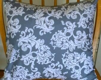 100% Cotton Gray & White Floral Design Envelope Pillow Cover