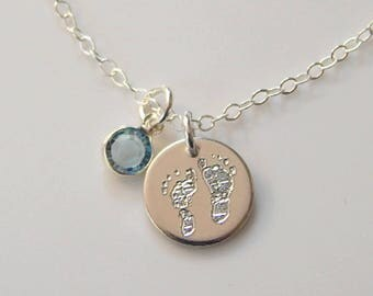 Real Footprint Necklace • Actual Footprint • New Baby • Newborn Footprint • Children's Footprint •  Push Gift • Memorial Gift  [18-201]