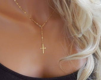 Cross Necklace • Lariat Cross Necklace • Gold or Sterling Silver Cross • Simple Christian Lariat • Minimal Lariat • Religious Jewelry