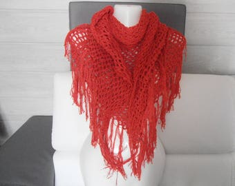 "shawl or scarf / red ""Tena"" all cotton."