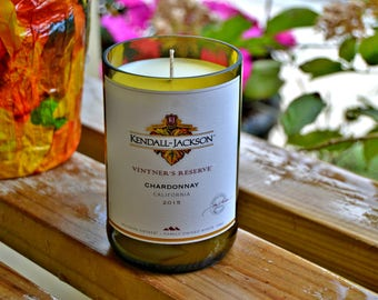 Kendall-Jackson Chardonnay wine bottle candle made with soy wax