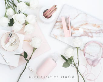Styled Stock Photography | Flatlay image | Marble Laptop and Roses | Styled Photography | Digital Image