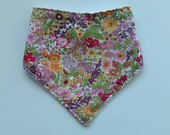 Floral baby bandana  bib, cotton upper, plain white minky backing, Australian Handmade