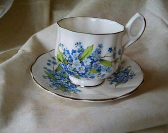 Vintage Lefton China Tea Cup and Saucer, Blue Floral