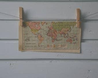 1912 Vintage World Map