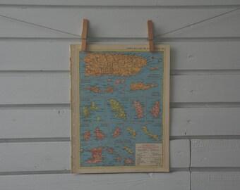 1956 Vintage Puerto Rico & Lesser Antilles Map