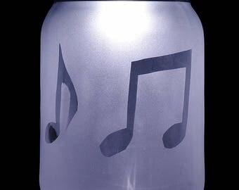 Musical Notes solar LED mason jar