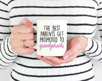 Best Parents Get Promoted to Grandparents Mug - Custom Mug - Family Mug - Christmas Present Mug - Parents Mug - Pregnancy Announcement Mug