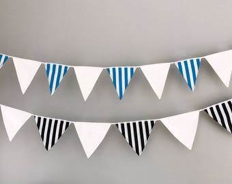 Ocean Blue and White Striped Bunting *top