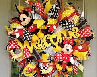 Mickey Minnie Wreath, Disney Wreath, Welcome Wreath, Disney Welcome Wreath, Mickey and Minnie Wreath, Mickey Mouse Wreath