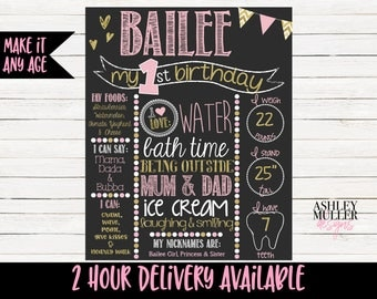 Pink and Gold First Birthday Chalkboard - Sparkle - Glitter - 1st Birthday Chalkboard -  1st Birthday Sign - First Birthday Stats Sign Pink