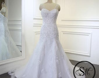 High End Quality A line Mermaid Sweetheart Neckline Sleeveless Straps White Ivory Lace Tulle Court Train Open Back Wedding Bridal Dress Gown