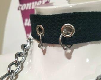 Pierced vegan adjustable collar with 12g captive bead rings