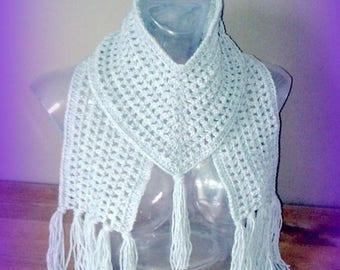 V original grey knitted hand crochet unique designer scarf