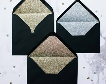 Silver or Gold glitter-lined candy black envelopes - Pack of 10