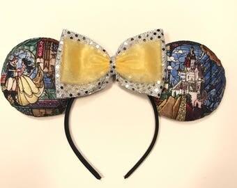 Stained Glass Beauty and the Beast ears headband