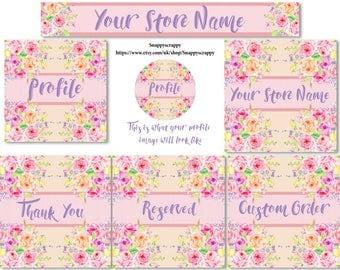 Etsy Banner Set, Watercolour florals, Premade Deisgn,