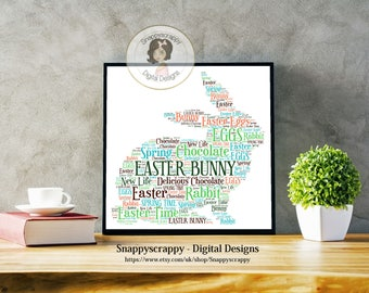 Easter Rabbit Typography,  Easter Word Art.   Print Your Own,  Instant Download