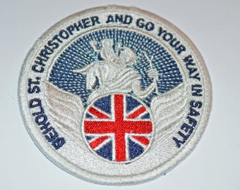 New Embroidered Cloth Badge - St Christopher with Union Jack Flag.