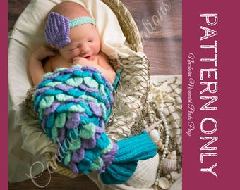 CROCHET PATTERN | Newborn Mermaid Photo Prop Pattern, Mermaid Crochet Pattern, DIY Mermaid Outfit, Crochet Baby Mermaid, pdf Crochet Pattern