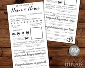 Wedding Mad Libs Printable Mr & Mrs Editable Forms Activity Sheets Day Page - Print at Home INSTANT DOWNLOAD Fun Marriage Game Advice Cards