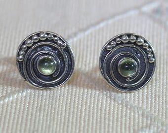 925 Sterling Silver Peridot Studs Mandala Earring Handmade Ethnic design