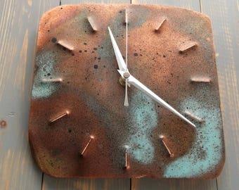 Rustic Copper Clock, Copper Wall Clock, Copper Clock, Wall Clock, Metal Clock, Copper Art, Patina, Oxidised Copper, Timepiece, Clock, OOAK