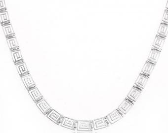 925 Greek Design Silver Necklace with Classic Greek Key Pattern