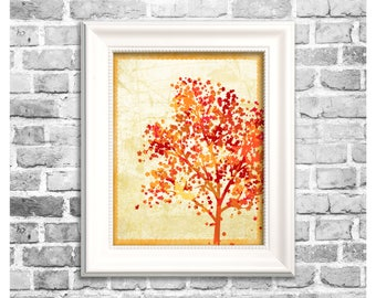 Fall Season Print / Autumn Tree Silhouette / Thanksgiving Decor / Fall Art / Printable Holiday Home Decor