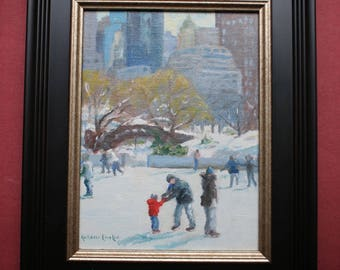 Skating in Central Park, Original Oil Painting