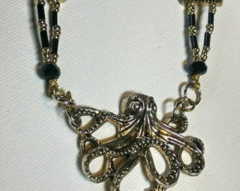 Kraken necklace with black crystals