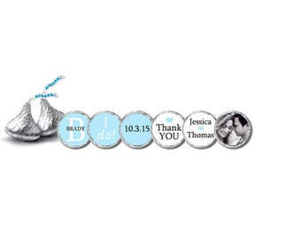 Wedding Hershey Kiss Stickers BLUE / Personalized Labels / Party Favor / Mints Candy Bar Buffet / I'll recolor redesign to match your theme!