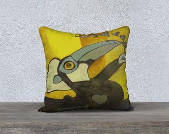 Toucan Toco yellow Art Print pillow cover - Pillow box and Collection Jp Mélanie Bernard