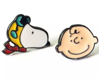 Cute Girls Snoopy And Charlie Brown Stud Earrings