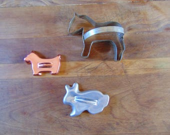 3 Metal Cookie Cutters Horse, Bunny, Scottie Dog Vintage Metal Cookie Cutters CountryRoadBoutique
